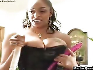 Two very busty black women have some hot lesbian sex, she licks that pussy fast and fucks butthole with big toy..
