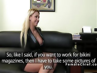 Lesbian has casting with huge tits agent