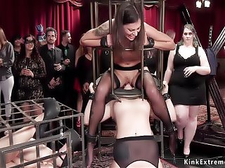 Lesbians licking and fucking at orgy party