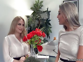 Lesbians gaping and anal fucking