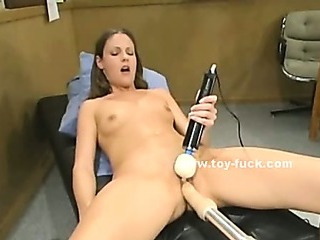Blonde delicate flower lol or better said blonde slut masturbating with huge fucking machine