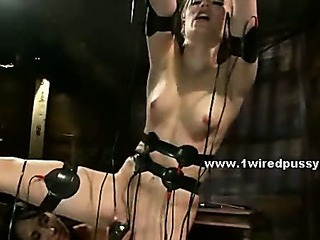 Brunette with big tits punishing pupil electrocuting her with electric toys in amazing lesbian sex