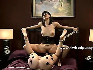 Lesbian test electric sex in bondage rough video scene udnressing and fucking
