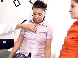 Marina sucks and licks her friends breasts as their lesbian teacher uses a vibrator on her pussy.