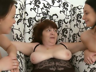 Threesome lesbian sex with amateur girls and mature mom