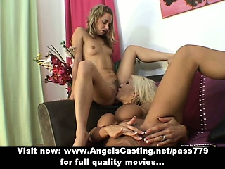Stunning blonde lesbians toying pussy and licking pussy on